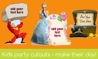 Kids party cardboard cutouts