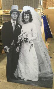 Cardboard cutout for a wedding