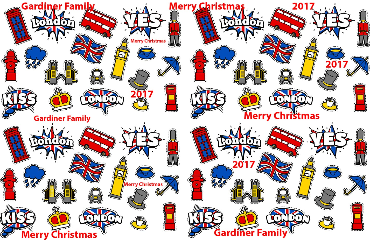 London Xmas Personalised Gift paper