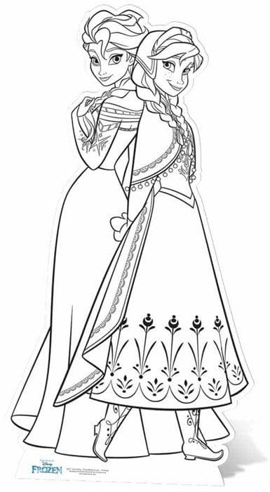 Anna and Elsa colour in cutouts