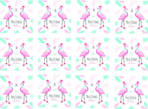 Personalised skating flamingo wrapping paper